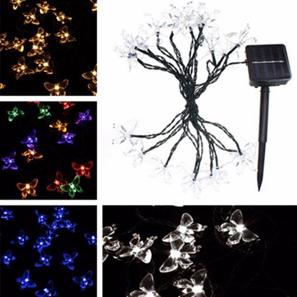 4.8M 20 LED Solar Waterproof Butterfly Fairy Light String Outdoor Xmas Party Garden Decor