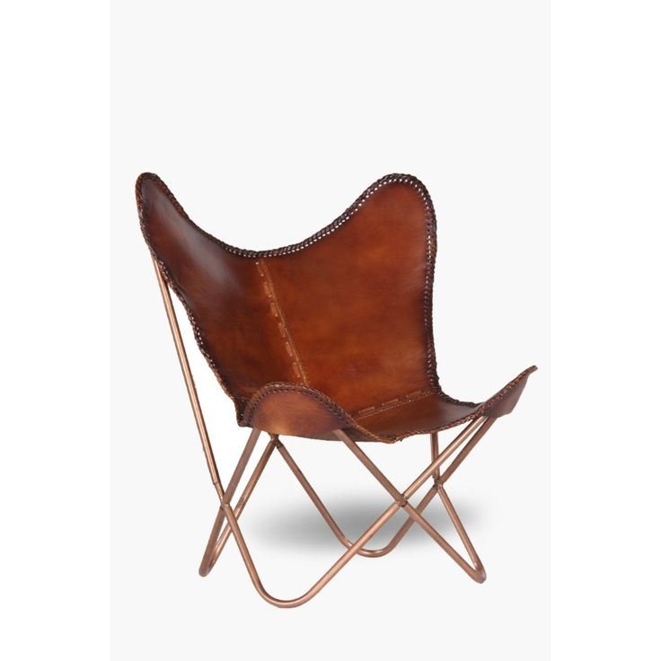 butterfly leather chair, tubula, copper frame. R3000