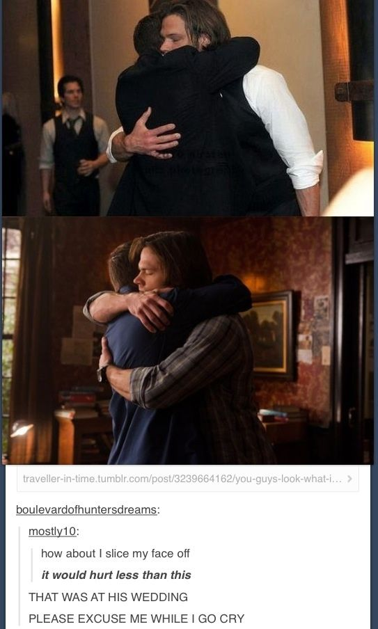 You can just tell that Jensen is such a good hugger. I wish I were Jared so I could be hugged by him so much!