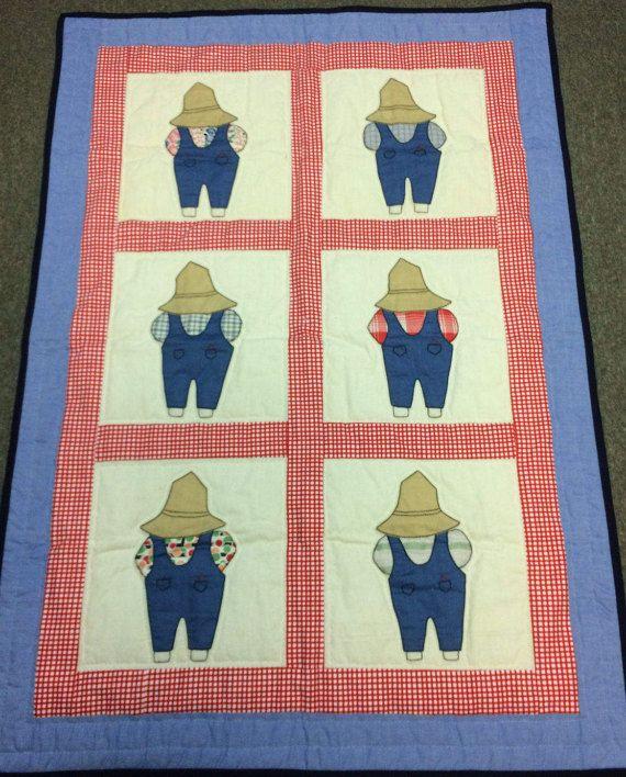 Hecho a mano manta acolchada a mano a cosidos Amish granjero monos guinga roja del dril de algodón hecha a mano