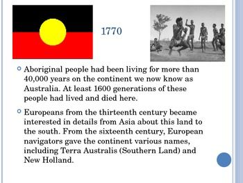 This powerpoint introduces Australia Day and the impacts of Settlement. It is 12 slides beginning in 1770.