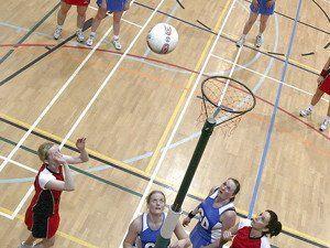 Netball Posts, netball bibs and netball.