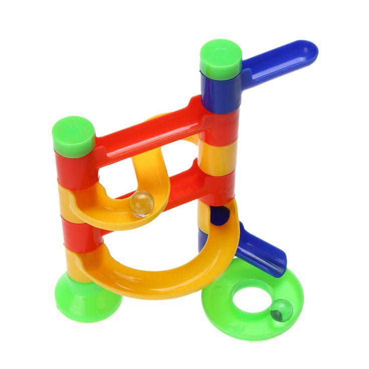 Diy construcción raza de la corrida de mármol bloques educativos para niños de construcción de pista de bolas laberinto bola de la órbita de set de regalo del bebé del cabrito juguete