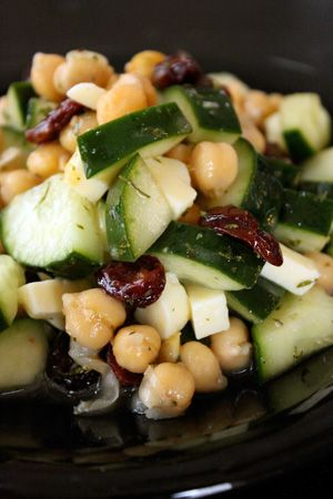 chickpea and cucumber salad with dried cranberries and feta cheese; add extra salt, pepper, and parsley