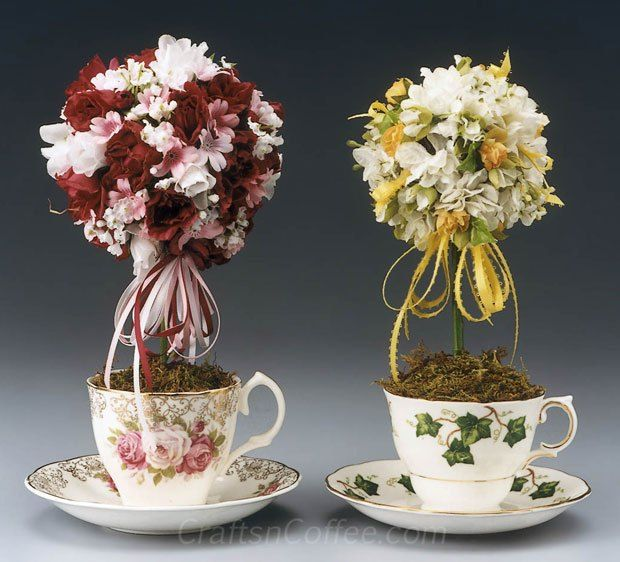 Teacup Topiaries, made with mismatched teacups, are perfect for Mother's Day, Teacher Appreciation Week, or bridal or baby showers.