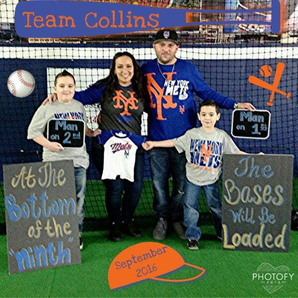 Pregnancy announcement  third child baseball theme NY Mets #baby #family #pregnancy #homerun