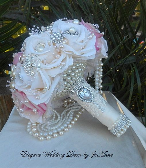 PETAL BROOCH BOUQUET Pink and Ivory Custom by Elegantweddingdecor