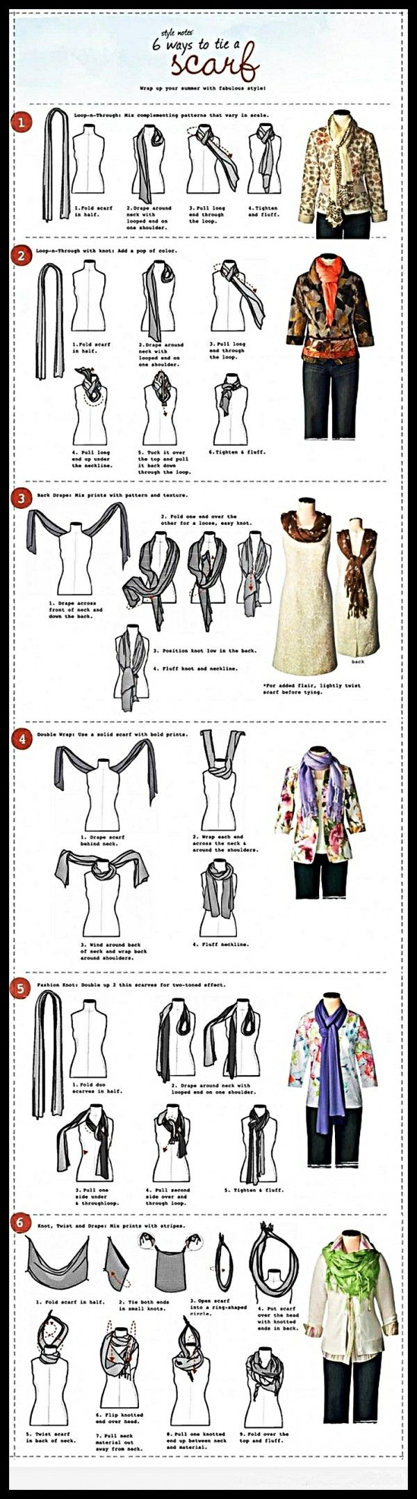 How to use a scarf in 6 ways – So Easy.Click on image for more projects.