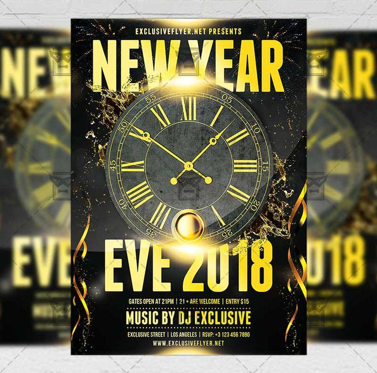 New Year Eve 2018 - Seasonal A5 Flyer Template  #exclusiveflyer #psd #freeflyer #freepsd #newyear #goldclock #newyearclock #newyeartree #greenbrunches #glitter #christmastoys #christmascelebration