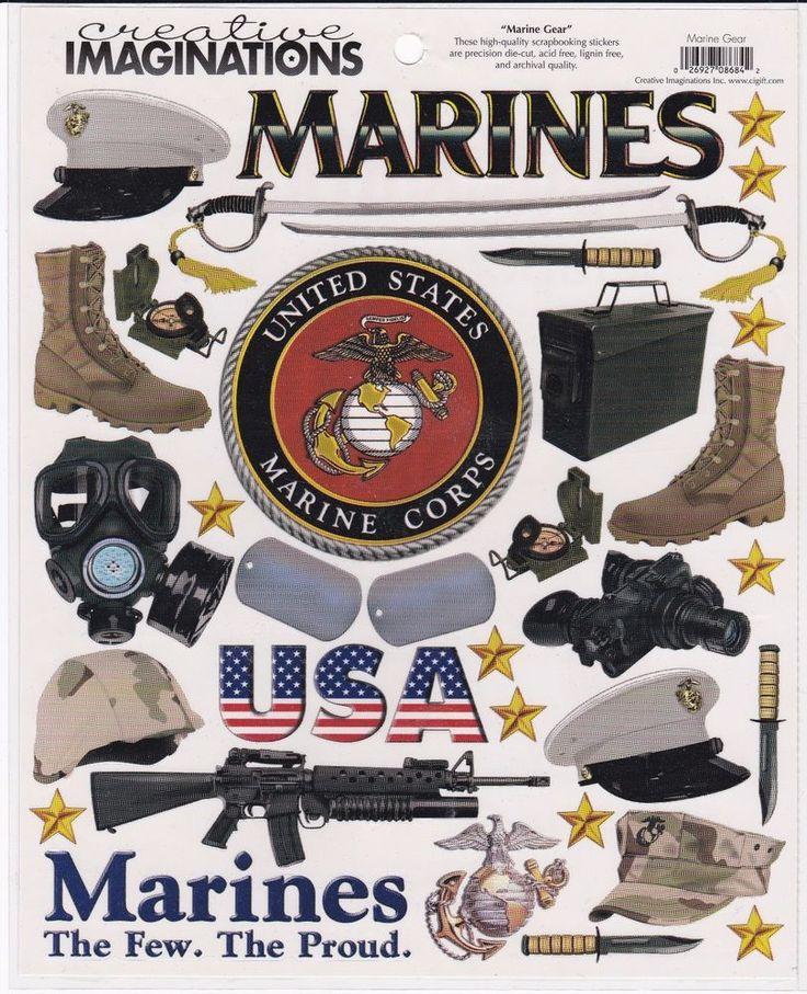 "Creative Imaginations U.S Marines ""Marine Gear"" Scrapbook Stickers  #CreativeImaginations"