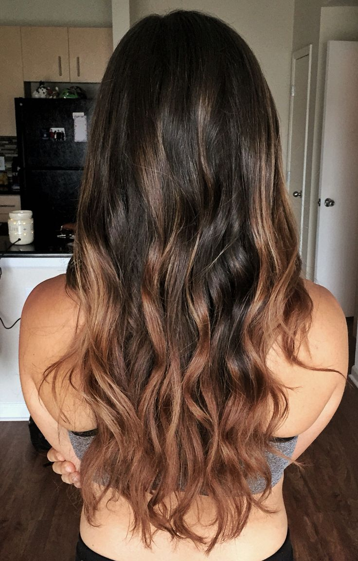 Beautiful Balayage for brunette hair. Caramel and chestnut. Sun kissed.