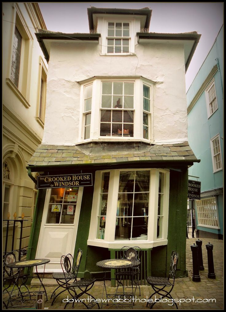 """Have tea in Windsor Village`s Crooked House in London. Find out more at """"Down the Wrabbit Hole - The Travel Bucket List"""". Click the image for the blog post."""