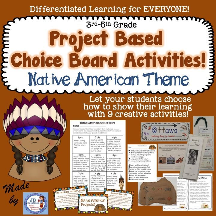Give students a choice in their learning and watch their creativity shine!  Students will differentiate on their own when they utilize this engaging choice board to compliment any Native American unit of study!  Includes 9 high interest, multi-modality projects that include step by step directions and/or the necessary materials to complete.  https://www.teacherspayteachers.com/Product/Native-American-Project-Based-Choice-Board-for-4th-and-5th-grades-2273507