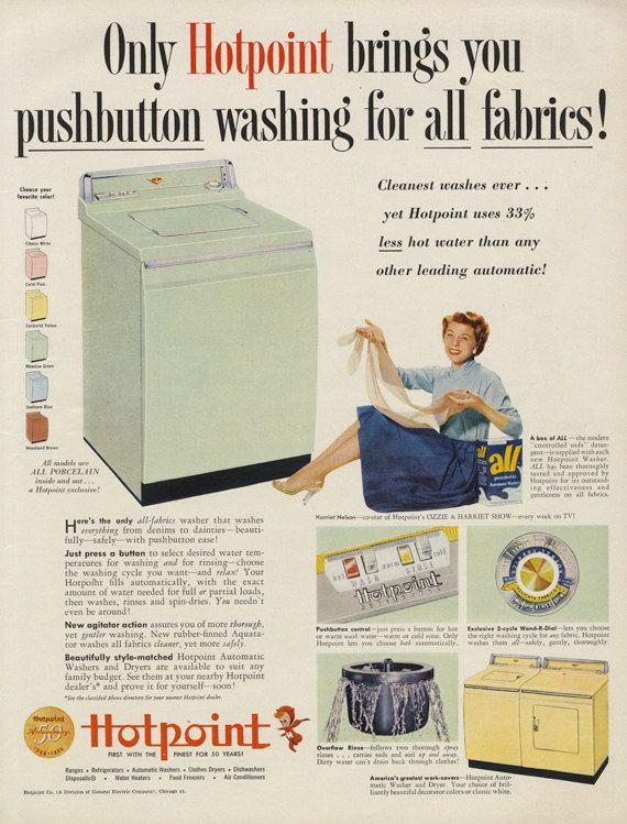 1955 Hotpoint Washing Machine Vintage Advertising By AdVintageCom