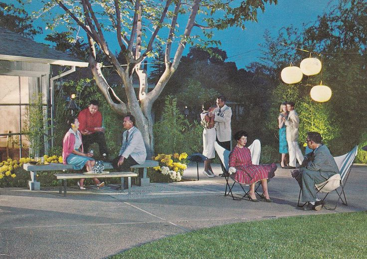 Mid Century Mod backyard entertaining. 1960 cover of Ortho Lawn and Garden Book.
