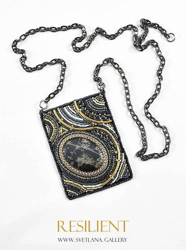Resilient Necklace Bead Embroidery With Pyrite
