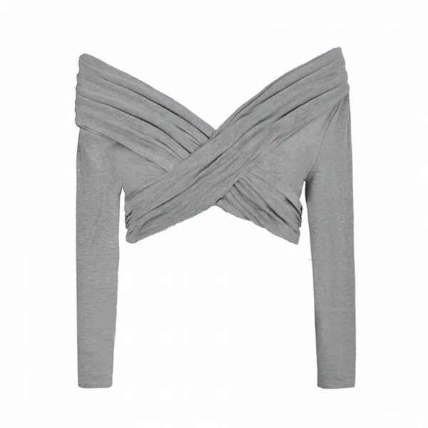 Ally Fashion Rouched cross over bardot top ($11) ❤ liked on Polyvore featuring tops, shirts, crop tops, grey, surplice crop top, long sleeve tops, crop top, crop shirts and cross over top