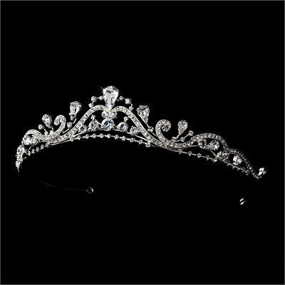 Silver-Tone Clear Wedding Bridal Tiara Headpiece