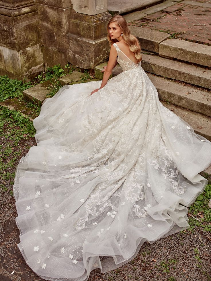 Amalia Carrara wedding dresses Style 353 Ivory/Blush lining sculptured neckline, French hand beaded all over embroidery ball gown low back Chapel Train. Colors available Ivory/Blush, Ivory/Ivory.