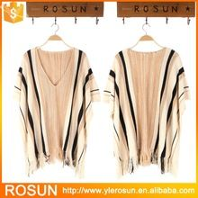 Striped poncho design tassel embellished V neck sweater Best Seller follow this link http://shopingayo.space
