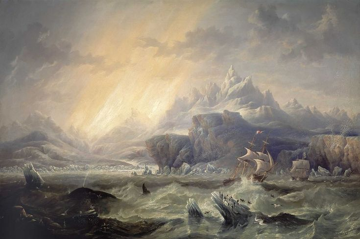 HMS Erebus and Terror in the Antarctic (1847), by James Wilson Carmichael (1800-1868).