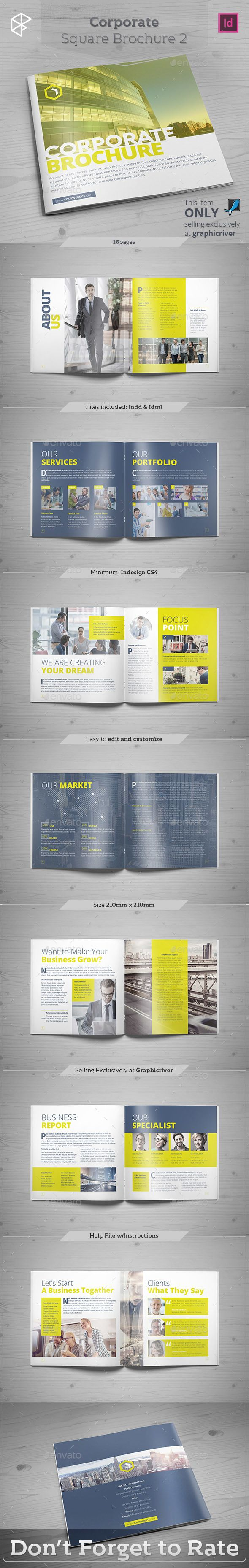 Corporate Square Brochure Template InDesign INDD #design Download…