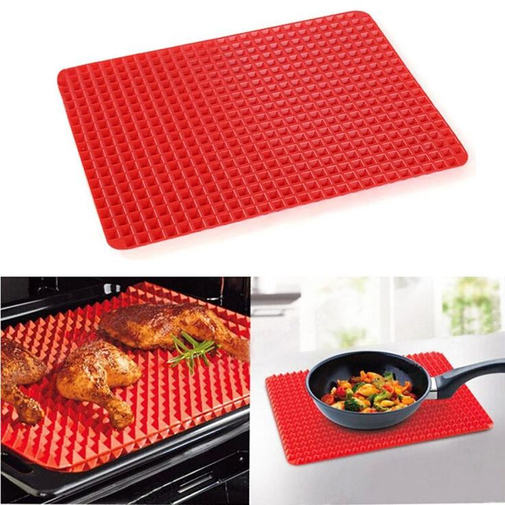 Bbq Mat Silicone Pyramid Pan Non Stick Fat Reducing Cooking Microwave Oven Baking Tray Sheet Kitchen Tools