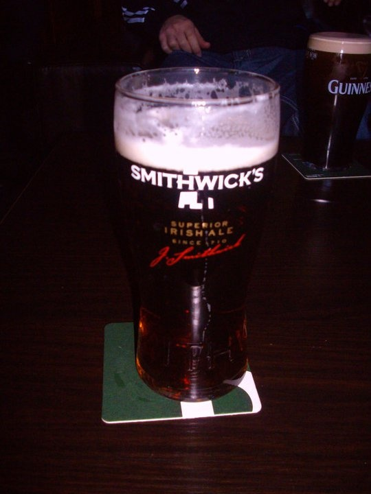A pint of Smithwick's ale in Kilkenny...home of Smithwick's. Couldn't be happier!
