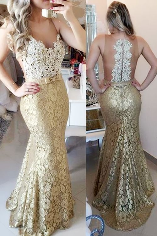 Illusion Mermaid Sweep Train Champagne Prom Evening Dress