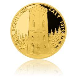 Zlatá čtvrtuncová medaile Rozhledna Žalý proof | Česká mincovna