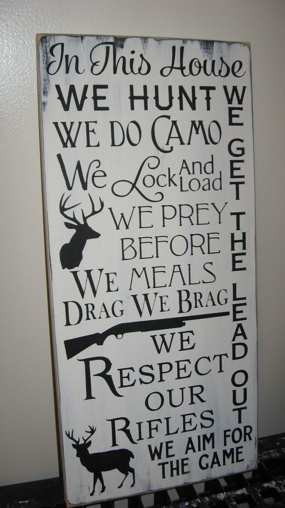 CUSTOM COLORS In This House We Hunt Family by CottageSignShoppe
