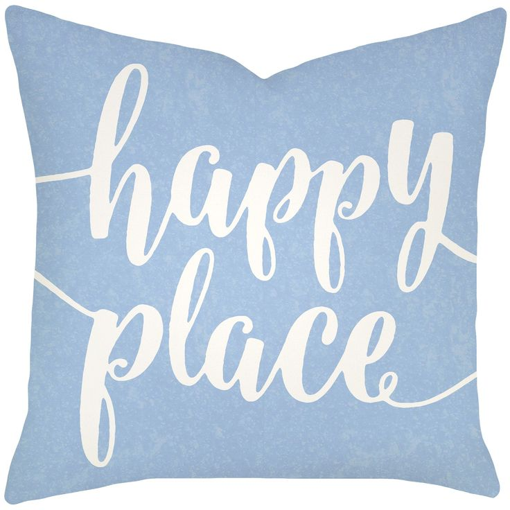 Happy Place Typography Cotton Throw Pillow