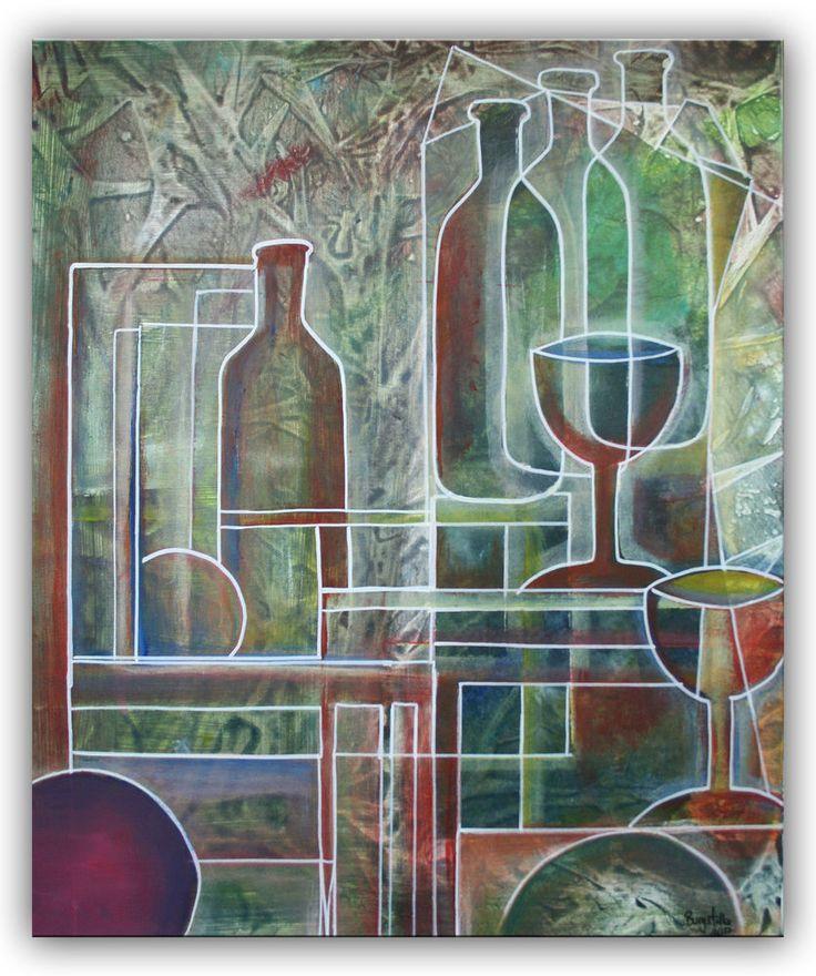 BURGSTALLER Flasche Glaeser abstrakt Bild handgemalt Keilrahmenbild Kunst 50x60