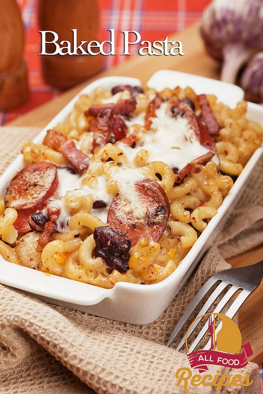 Baked macaroni and cheese with kielbasa and sausage
