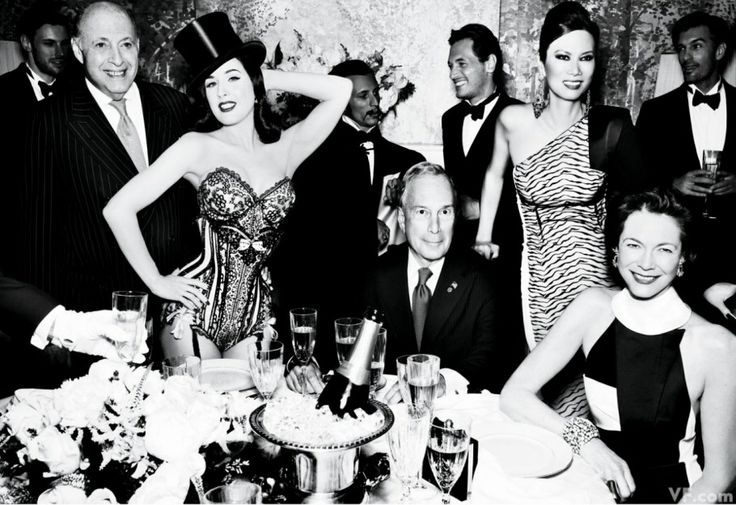 From left, Reinaldo Herrera, Dita Von Teese, Mayor Michael Bloomberg, Wendi Deng Murdoch, and Diana Taylor. Photographed by Mario Testino. S...