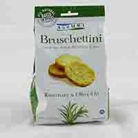 Snack size Italian bruschetta toasts are baked using unbleached flour and the highest quality extra virgin olive oil. Contains rosemary and olive oil. From Italy.