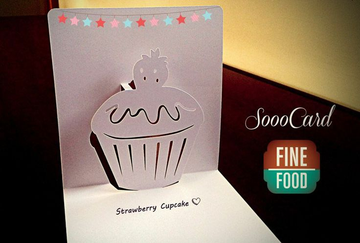 Strawberry Cupcake Kirigami Birthday Pop Up Card Cards