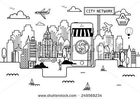 Network City On line shopping Liner - stock vector