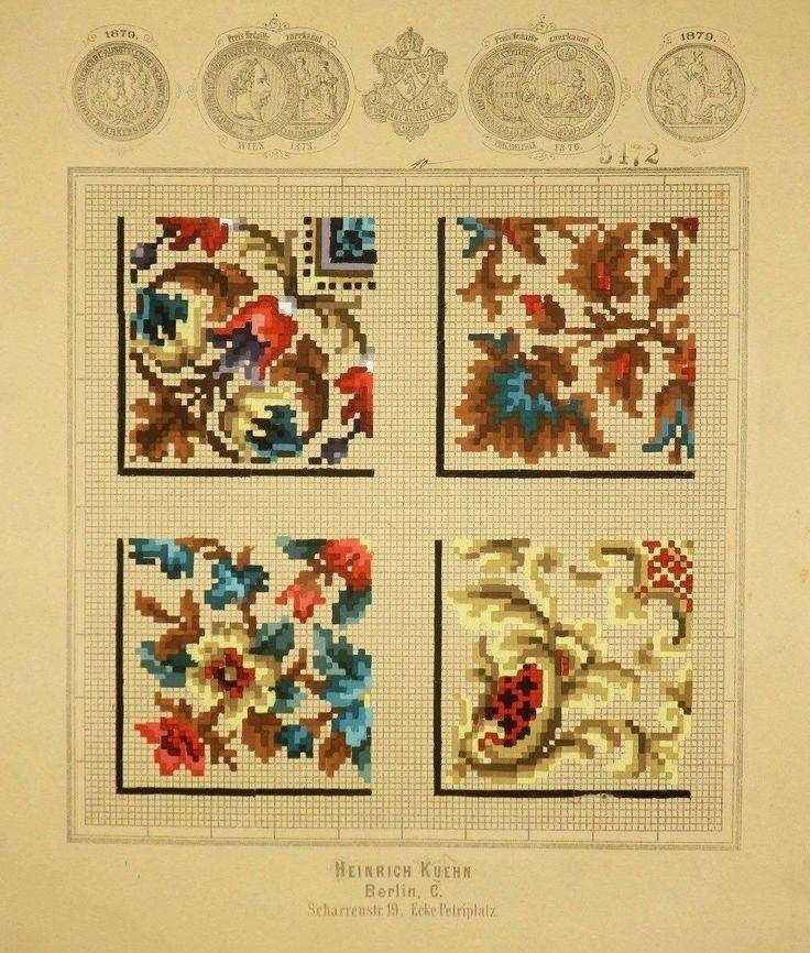Antique Berlin Woolwork hand-painted chart 19th cent. Heinrich Kuehn in Berlin | eBay