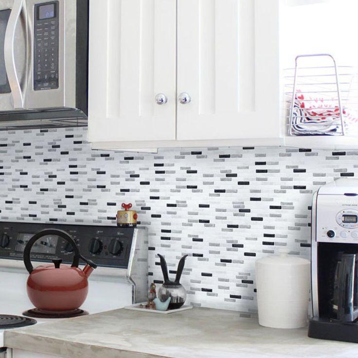 Amazon.com: Beaustile Grey Brick Mosaic 3D Wall Sticker Home Decor Fire Retardant Backsplash Wallpaper Bathroom Kitchen DIY: Home Improvement