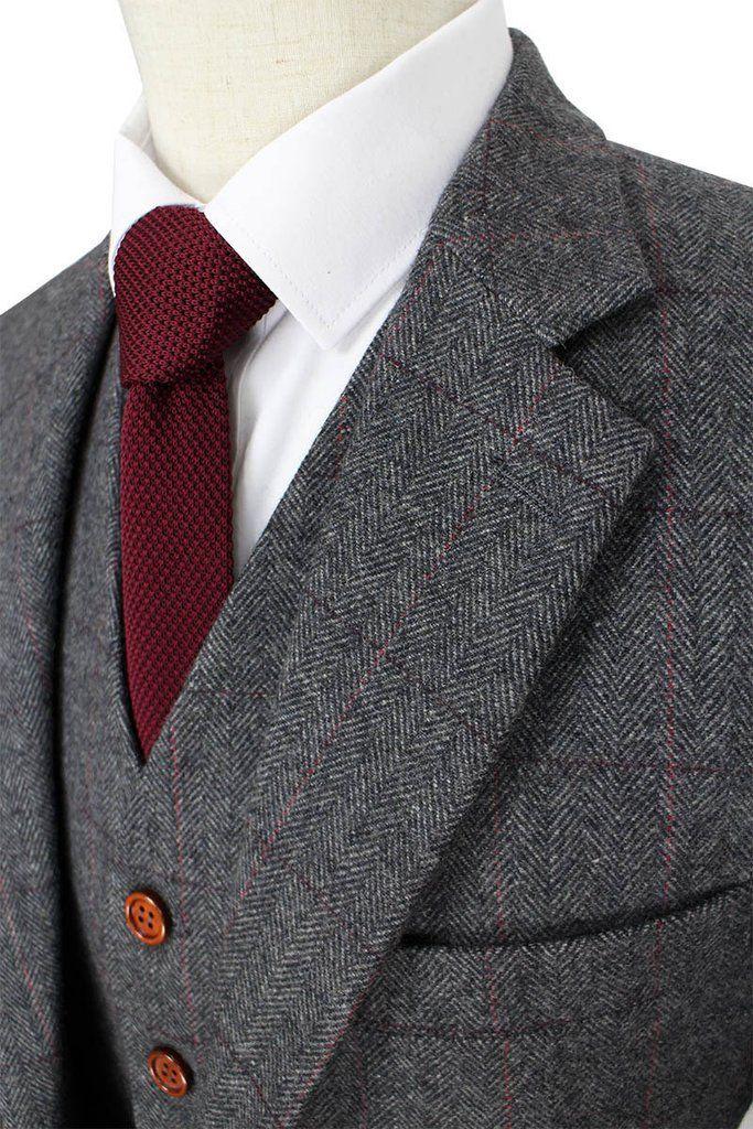 British Style Herringbone Tweed Men Suit, Custom Made, 3-Piece, Retro Grey Wool Suit