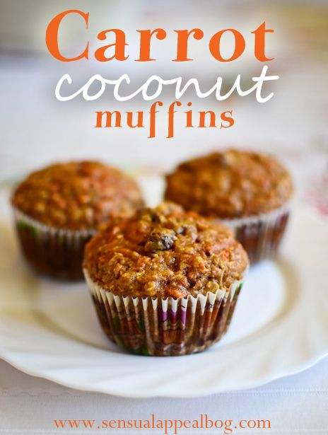 Carrot Coconut Muffins - healthy and delicious! #recipe by sensualappealblog.com