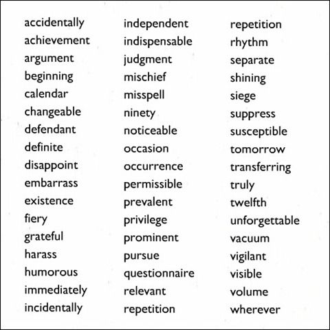 50 most common words that are spelled incorrectly - spelling test at the beginning of the school year!