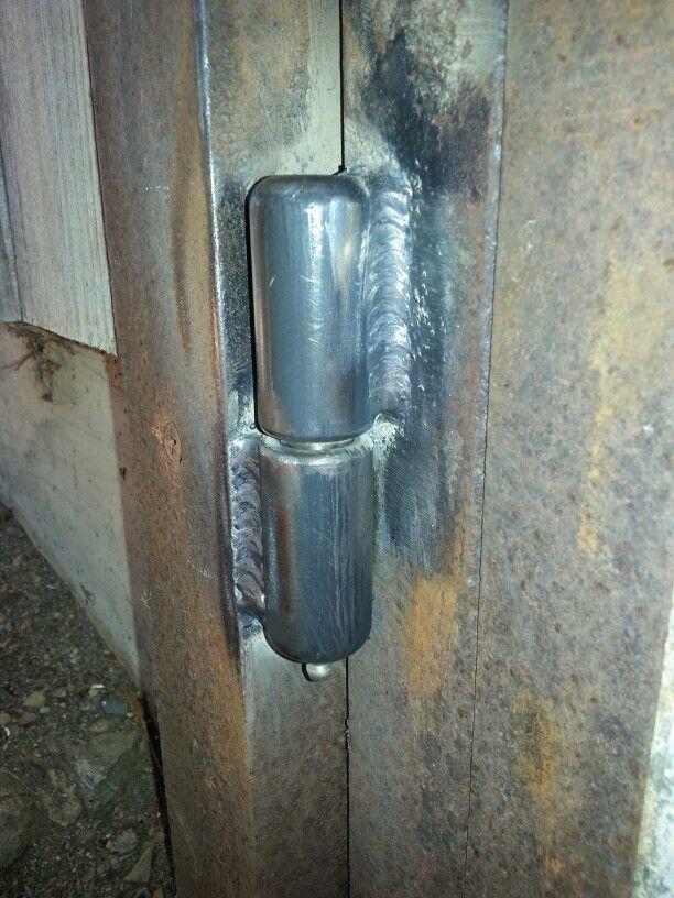 Barrel hinges.  Flux core welding.