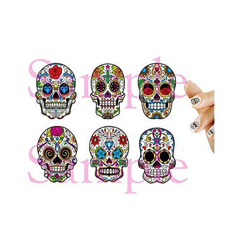 50 Sugar Skulls Nail Art Decal Sticker Set >>> Click image to review more details.