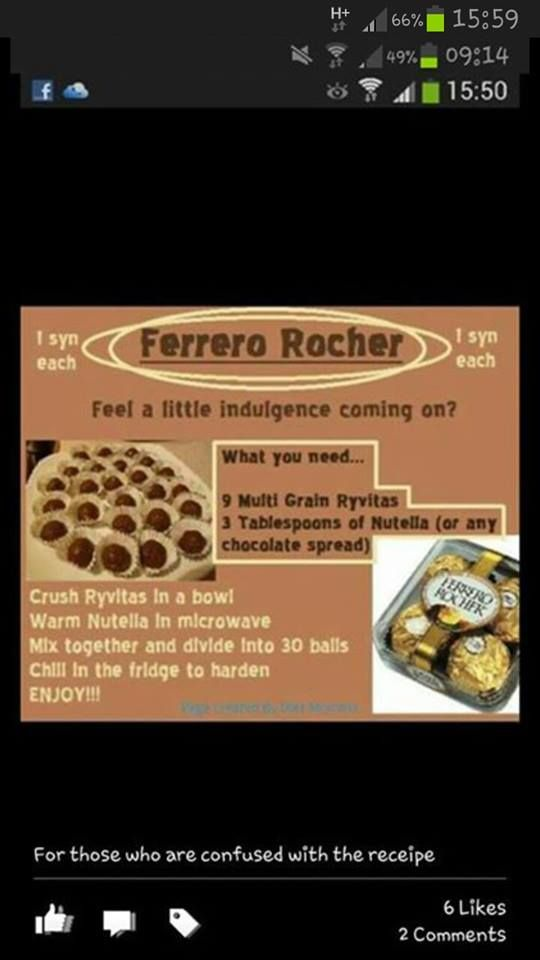 Slimming world ferro rocher  I used 10 rivita and 7 tbsp Nutella and split it into 26 x 10g balls, about 1.5 syns each