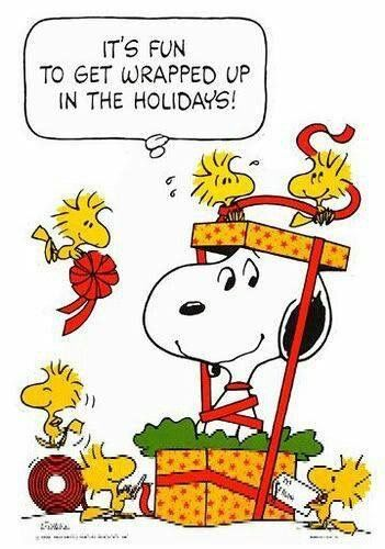 Snoopy gets gift wrapped