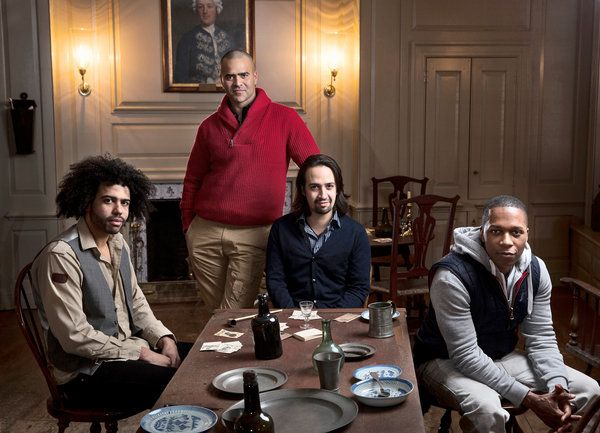 "From left, Daveed Diggs, Christopher Jackson, Lin-Manuel Miranda and Leslie Odom Jr. from the cast of ""Hamilton."" Credit Damon Winter/The New York Times"