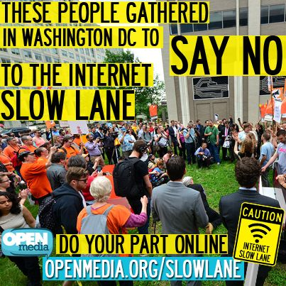 A huge chorus of voices is rising against the FCC's plan to allow Internet Slow Lanes. We've almost hit 100,000 signatures on our website - will you help us take this campaign to the next level? Go to https://OpenMedia.org/SlowLane and speak out!