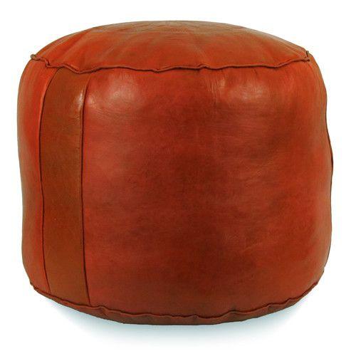 Dark Orange Tabouret Fez Pouf Round Genuine Leather